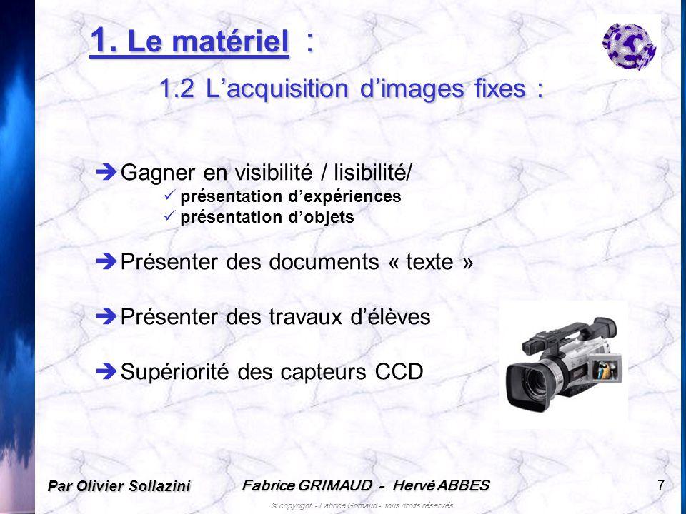 1. Le matériel : 1.2 L'acquisition d'images fixes :
