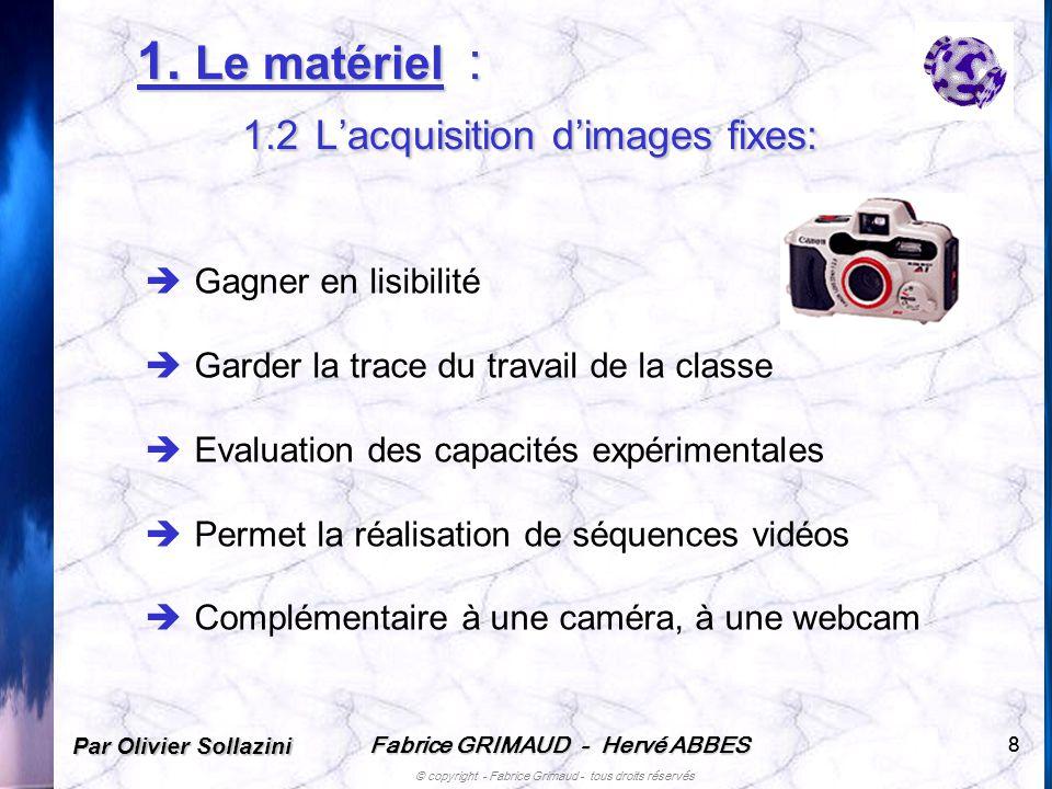 1. Le matériel : 1.2 L'acquisition d'images fixes: