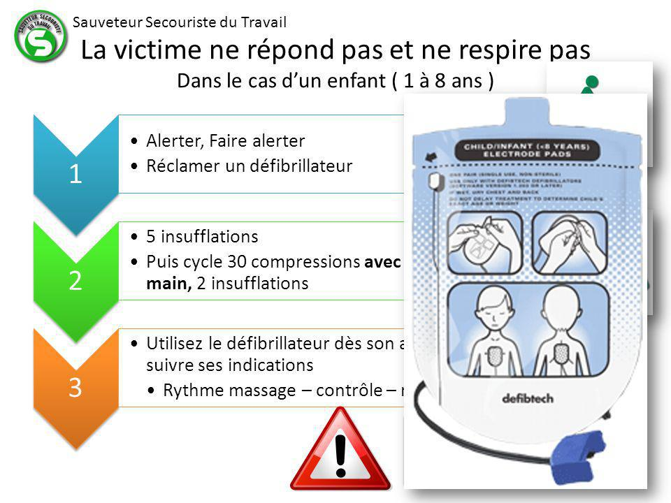 La victime ne répond pas et ne respire pas Dans le cas d'un enfant ( 1 à 8 ans )