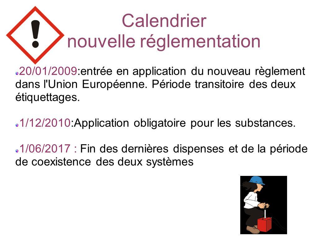 Calendrier nouvelle réglementation