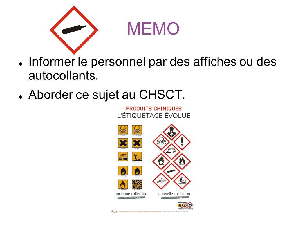 MEMO Informer le personnel par des affiches ou des autocollants.