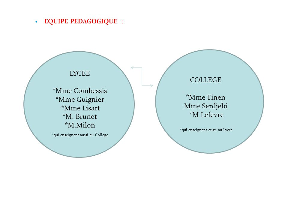 LYCEE COLLEGE *Mme Combessis *Mme Guignier *Mme Tinen *Mme Lisart