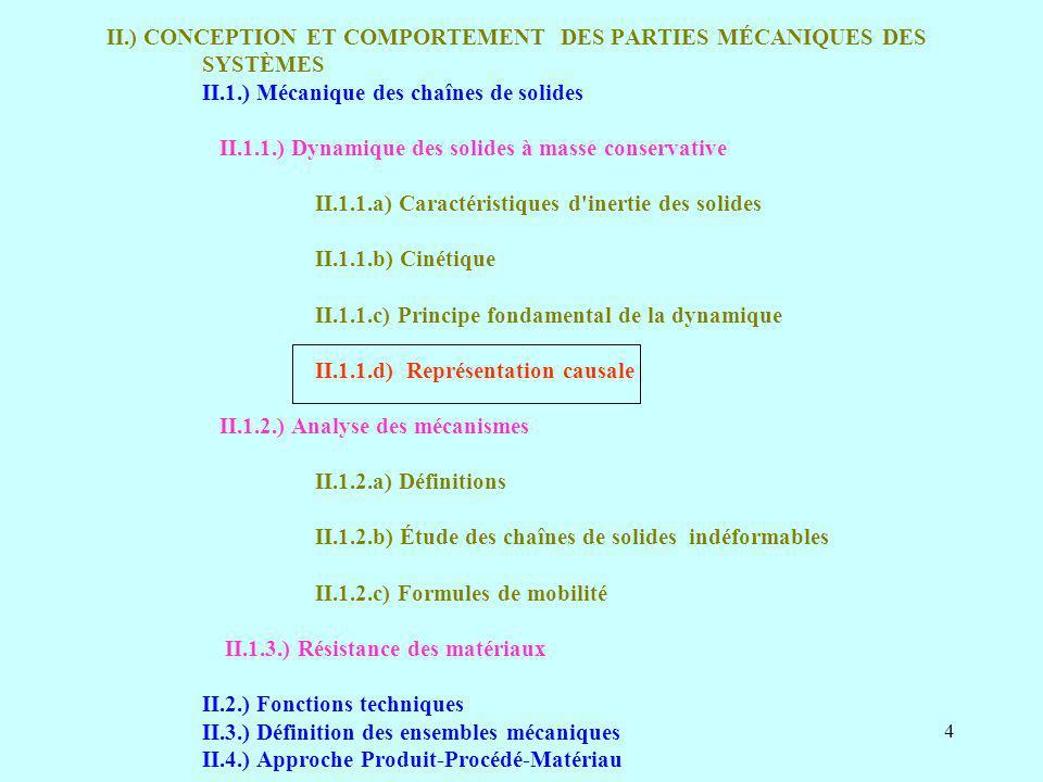 II.) CONCEPTION ET COMPORTEMENT DES PARTIES MÉCANIQUES DES SYSTÈMES II.1.) Mécanique des chaînes de solides II.1.1.) Dynamique des solides à masse conservative II.1.1.a) Caractéristiques d inertie des solides II.1.1.b) Cinétique II.1.1.c) Principe fondamental de la dynamique II.1.1.d) Représentation causale II.1.2.) Analyse des mécanismes II.1.2.a) Définitions II.1.2.b) Étude des chaînes de solides indéformables II.1.2.c) Formules de mobilité II.1.3.) Résistance des matériaux II.2.) Fonctions techniques II.3.) Définition des ensembles mécaniques II.4.) Approche Produit-Procédé-Matériau