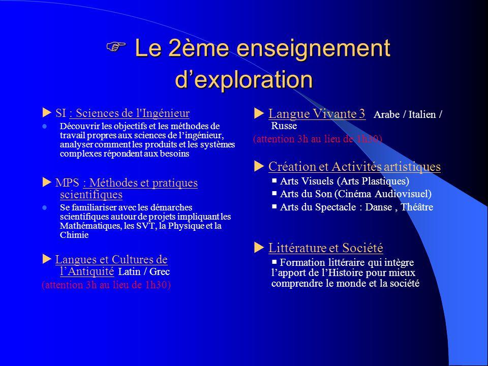  Le 2ème enseignement d'exploration
