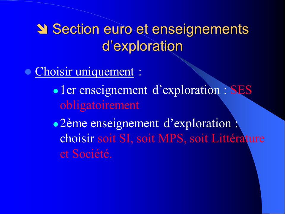  Section euro et enseignements d'exploration