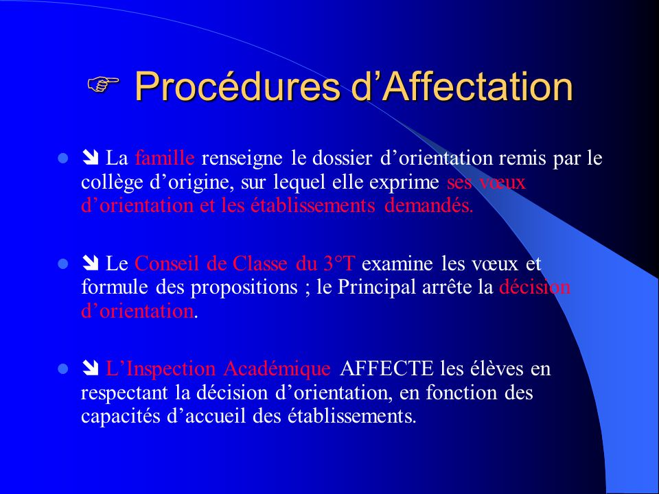  Procédures d'Affectation
