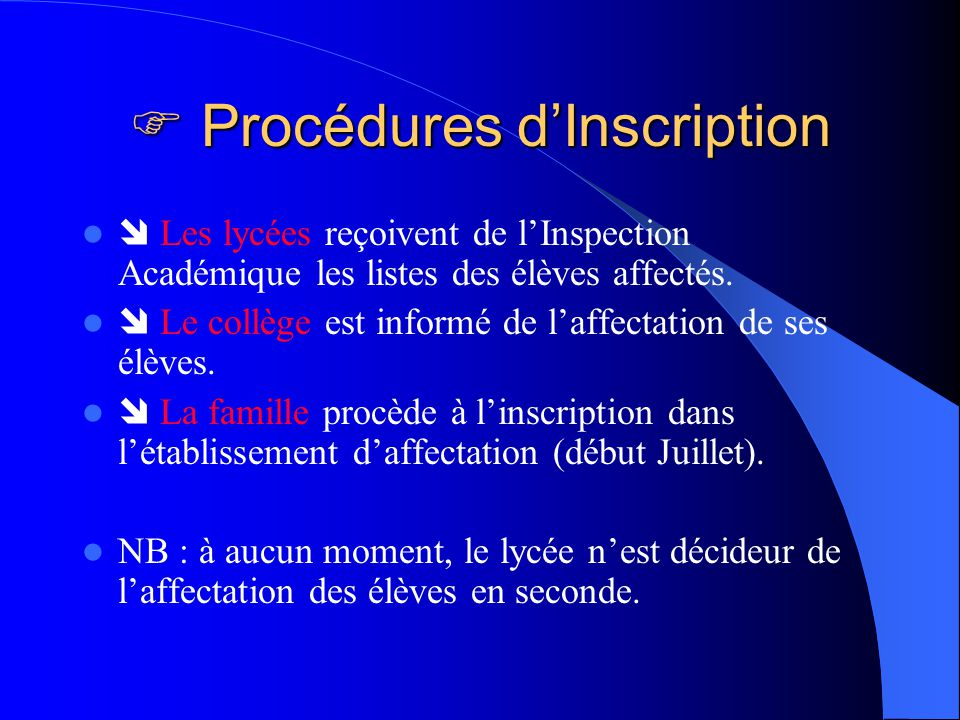  Procédures d'Inscription