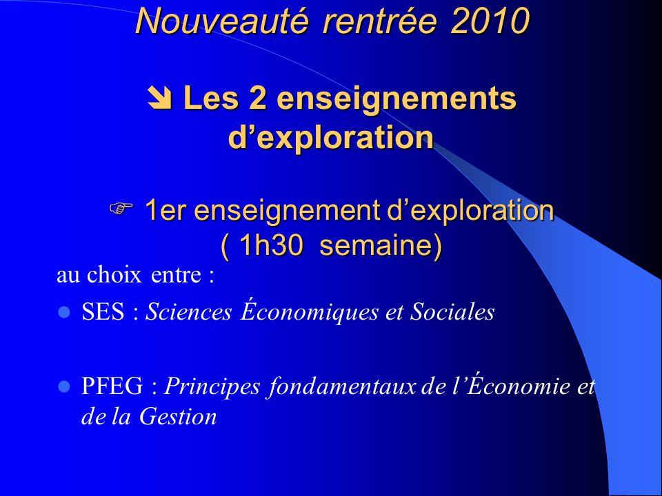 Nouveauté rentrée 2010  Les 2 enseignements d'exploration  1er enseignement d'exploration ( 1h30 semaine)