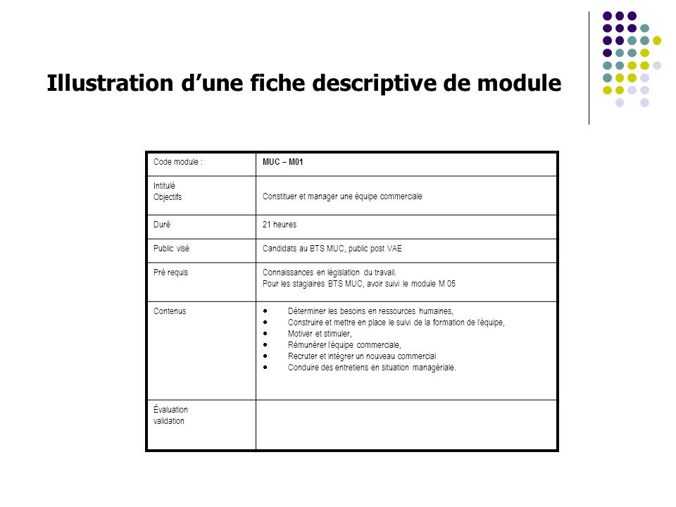 Illustration d'une fiche descriptive de module