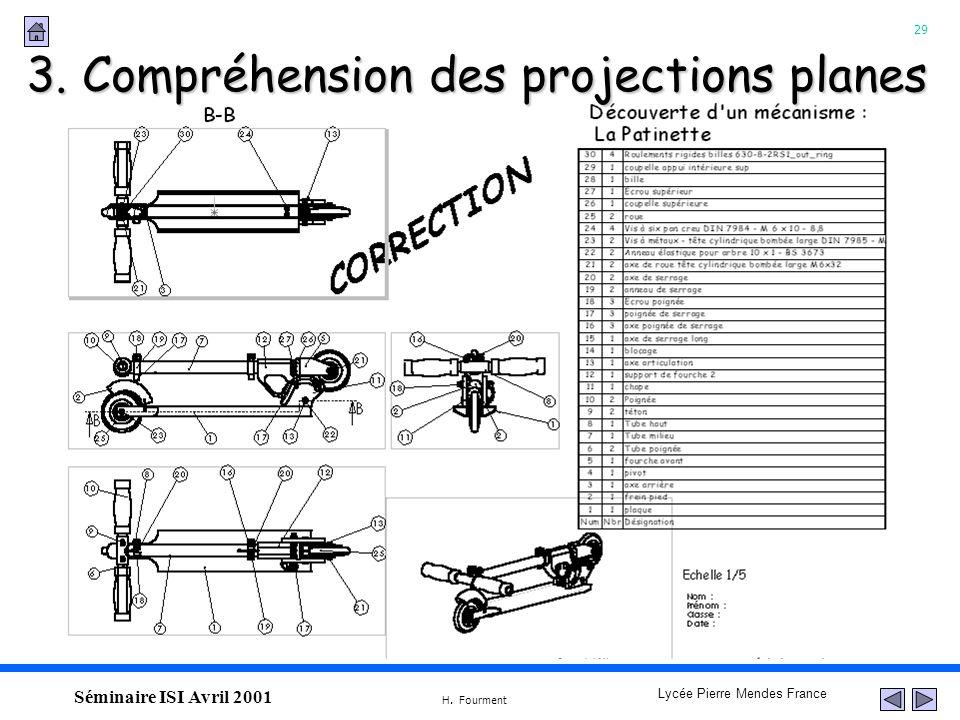 3. Compréhension des projections planes