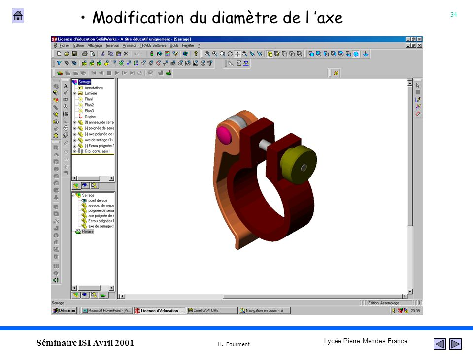 Modification du diamètre de l 'axe