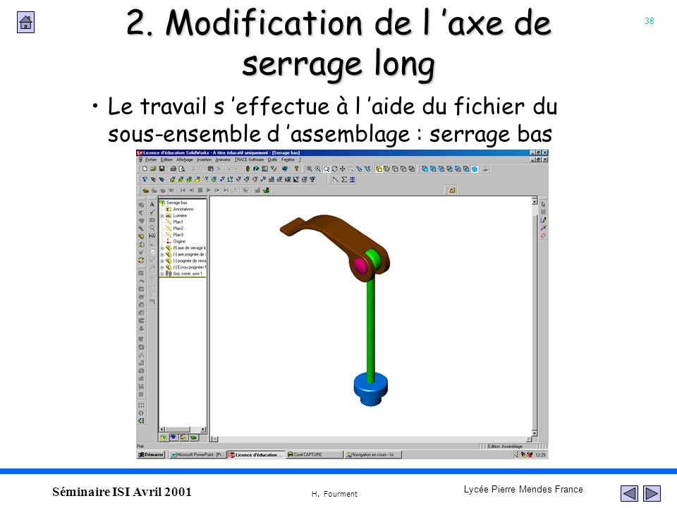 2. Modification de l 'axe de serrage long