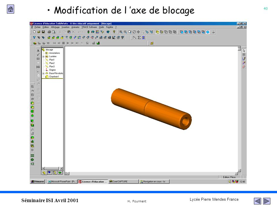 Modification de l 'axe de blocage