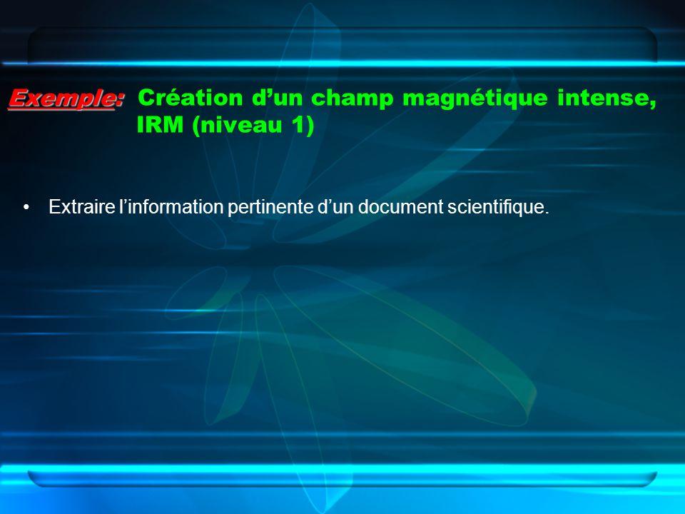 Exemple: Création d'un champ magnétique intense, IRM (niveau 1)