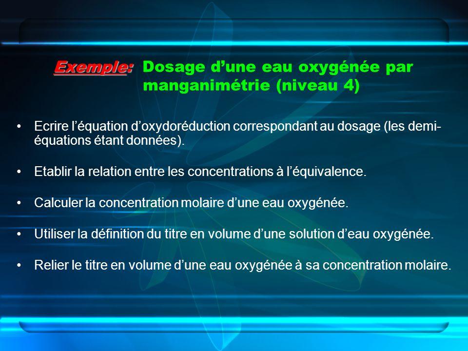 Exemple: Dosage d'une eau oxygénée par manganimétrie (niveau 4)
