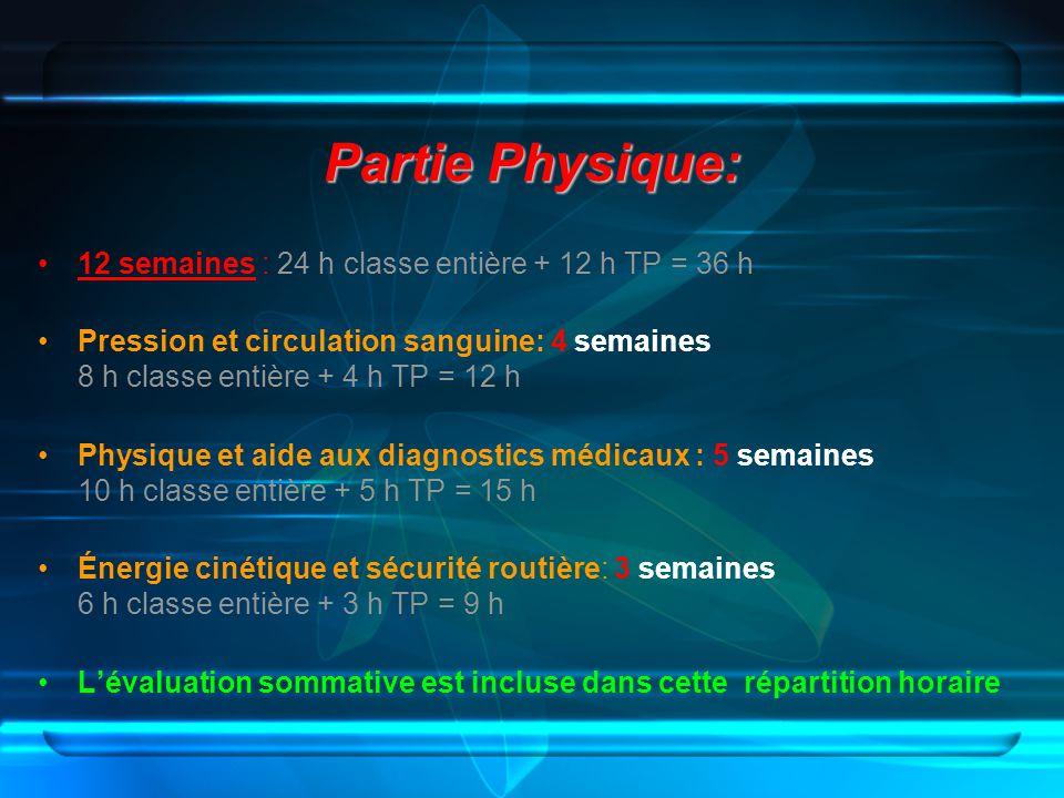 Partie Physique: 12 semaines : 24 h classe entière + 12 h TP = 36 h