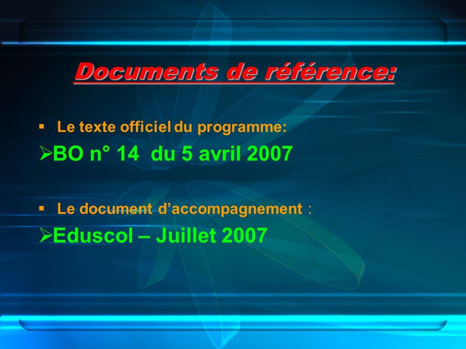 Documents de référence: