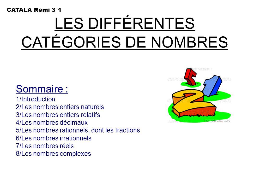 LES DIFFÉRENTES CATÉGORIES DE NOMBRES