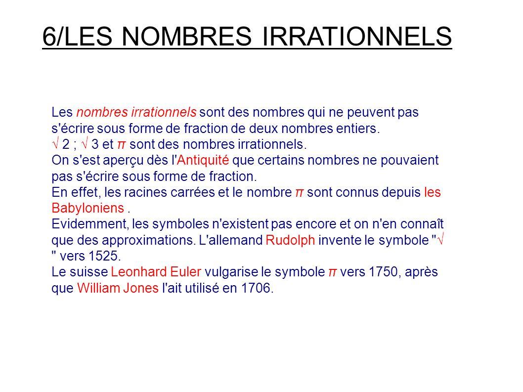 6/LES NOMBRES IRRATIONNELS