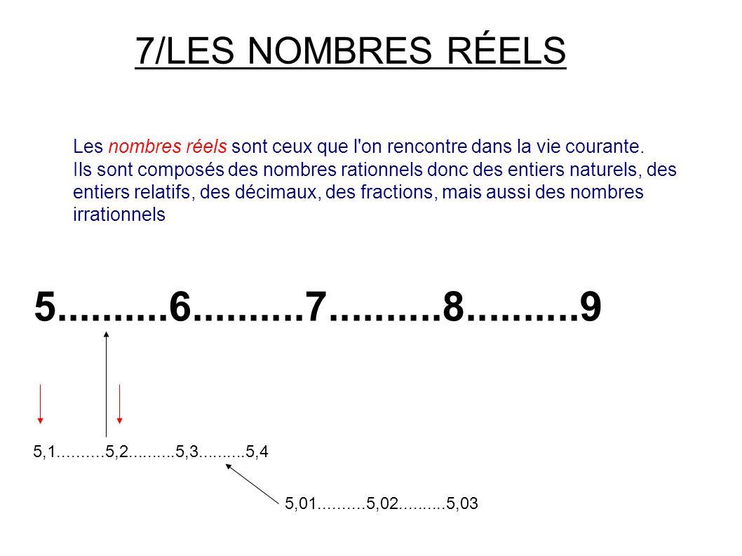 7/LES NOMBRES RÉELS