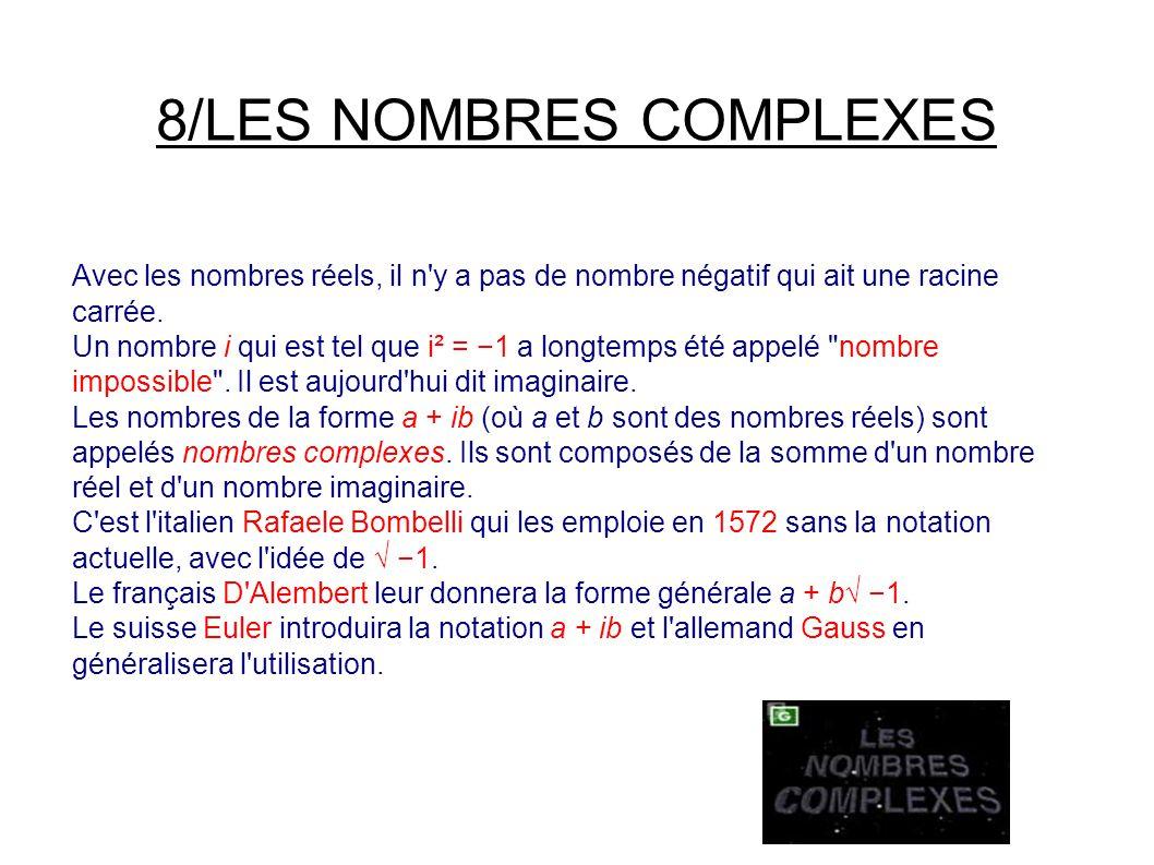8/LES NOMBRES COMPLEXES