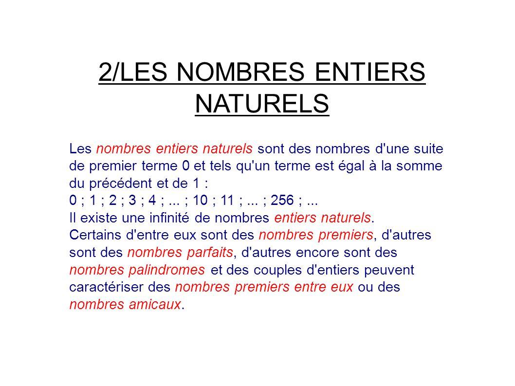 2/LES NOMBRES ENTIERS NATURELS