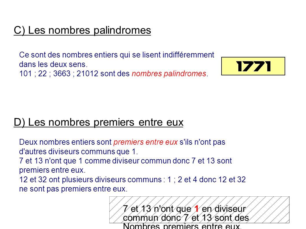 C) Les nombres palindromes