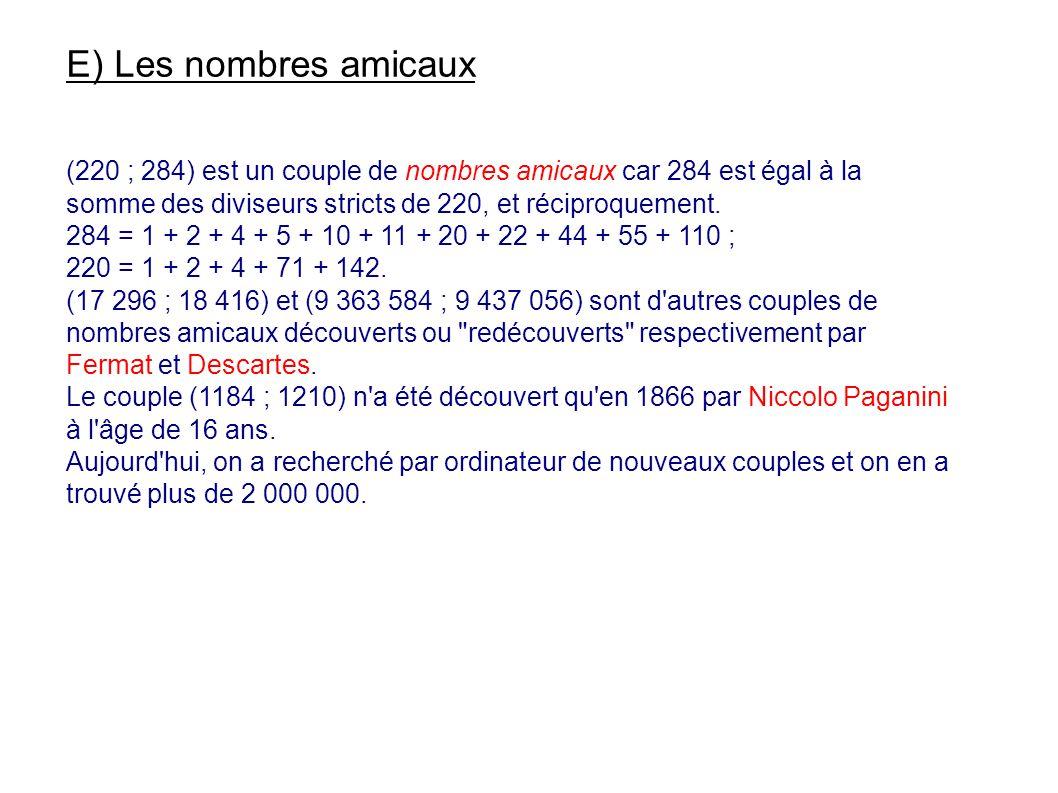 E) Les nombres amicaux