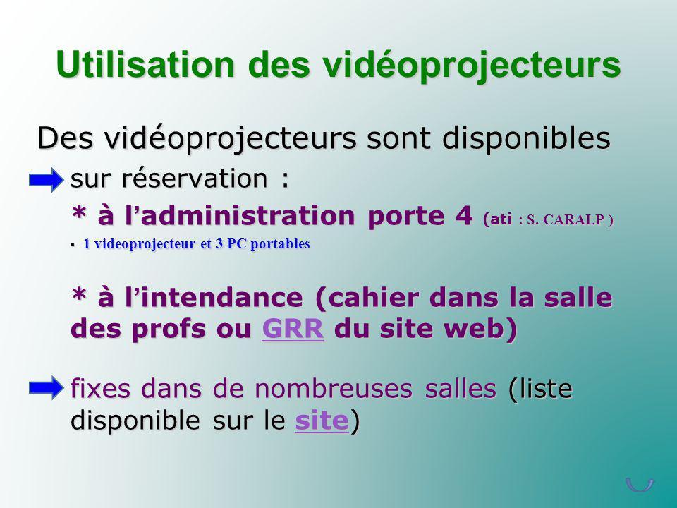 Utilisation des vidéoprojecteurs