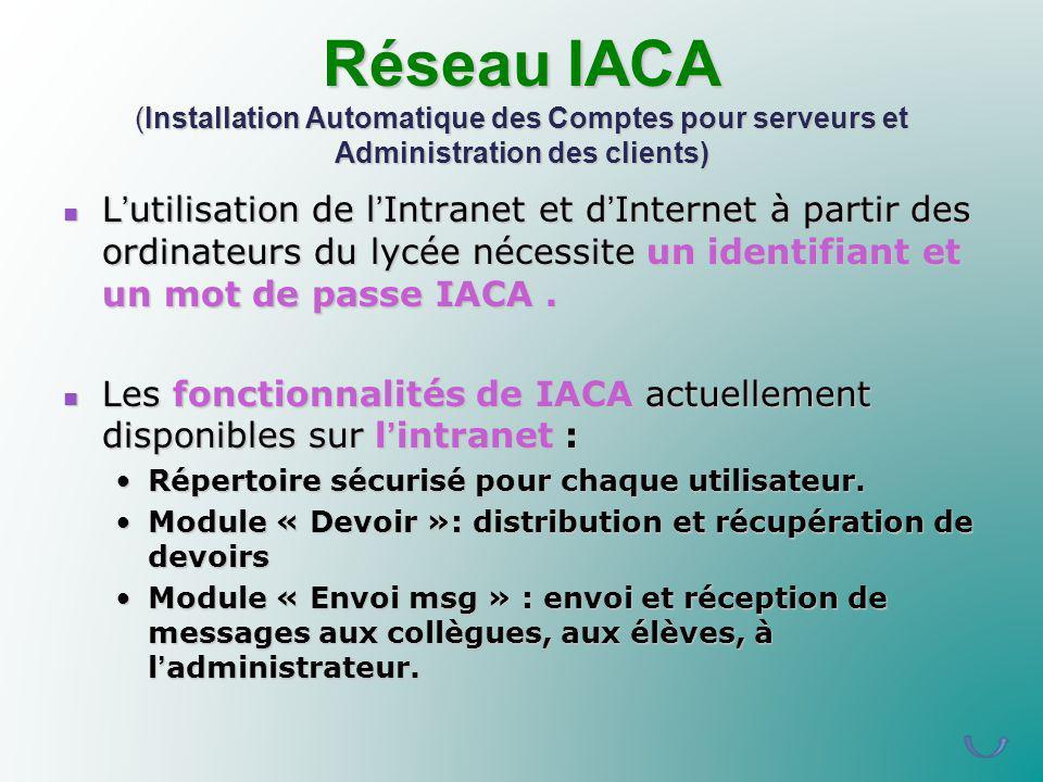 Réseau IACA (Installation Automatique des Comptes pour serveurs et Administration des clients)