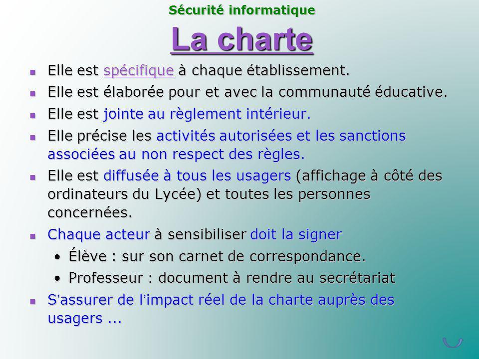 La charte Elle est spécifique à chaque établissement.