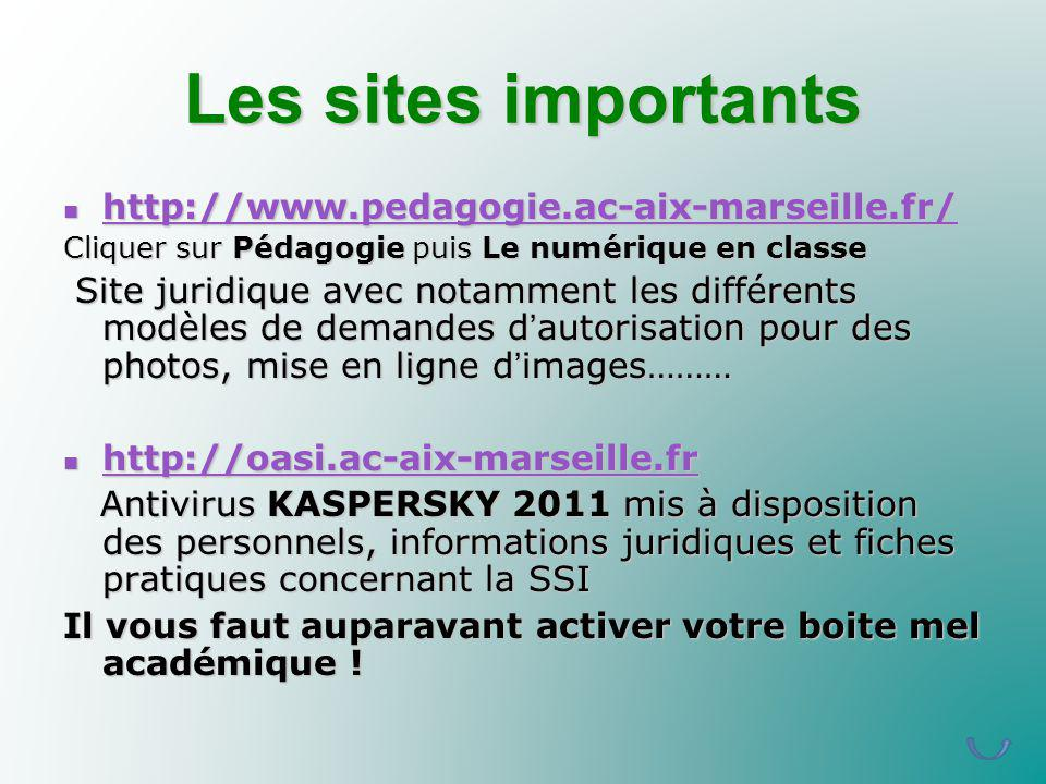 Les sites importants http://www.pedagogie.ac-aix-marseille.fr/
