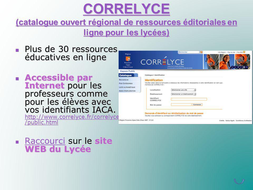 CORRELYCE (catalogue ouvert régional de ressources éditoriales en ligne pour les lycées)