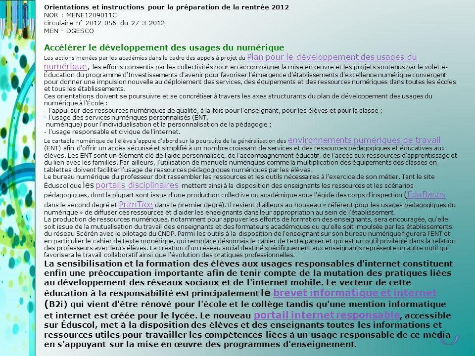 Orientations et instructions pour la préparation de la rentrée 2012