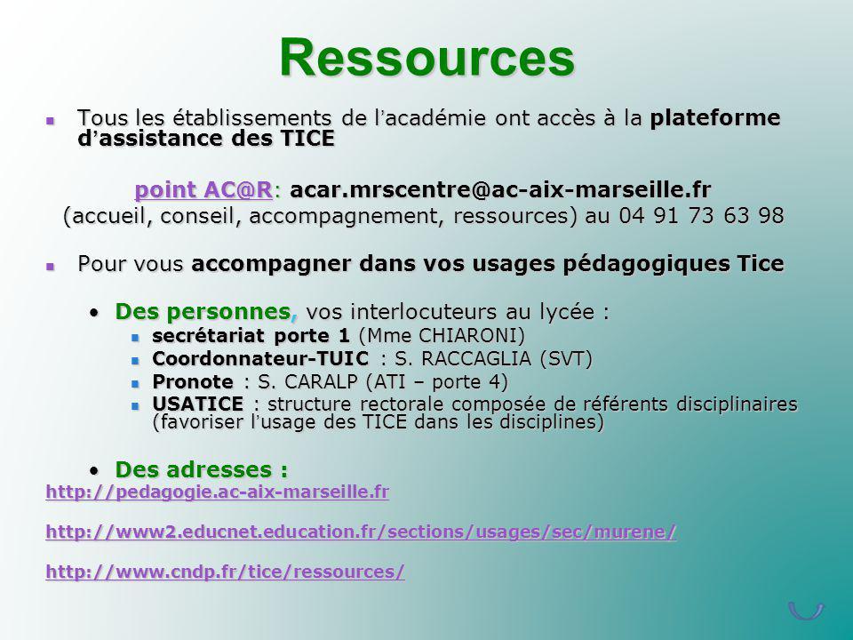 Ressources Tous les établissements de l'académie ont accès à la plateforme d'assistance des TICE. point AC@R: acar.mrscentre@ac-aix-marseille.fr.