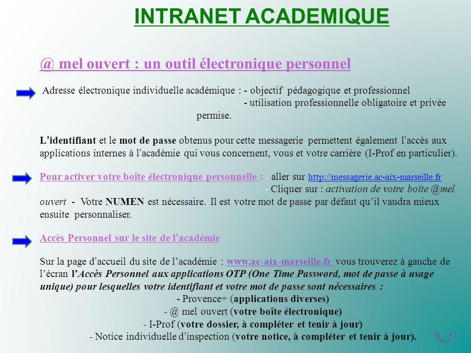 INTRANET ACADEMIQUE @ mel ouvert : un outil électronique personnel Adresse électronique individuelle académique : - objectif pédagogique et professionnel