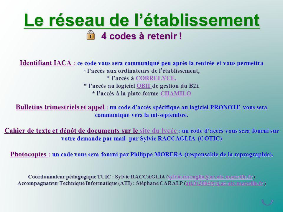 Le réseau de l'établissement 4 codes à retenir