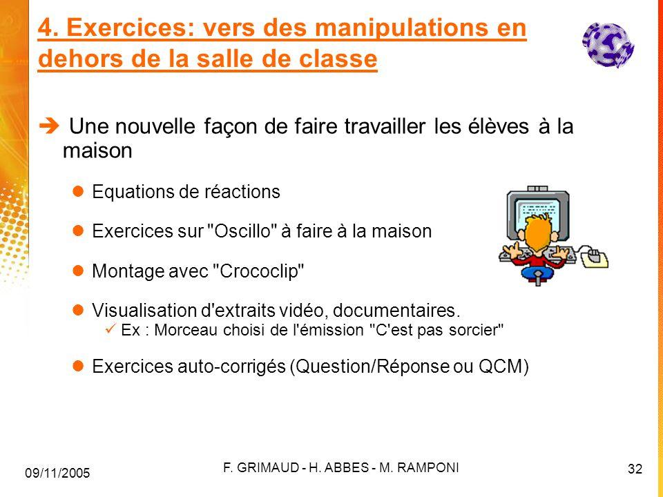 4. Exercices: vers des manipulations en dehors de la salle de classe