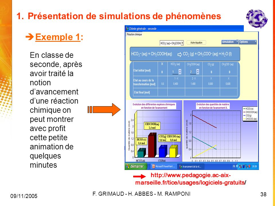 1. Présentation de simulations de phénomènes