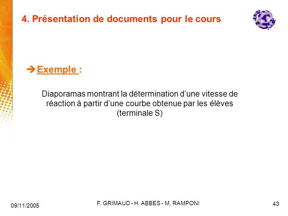 4. Présentation de documents pour le cours