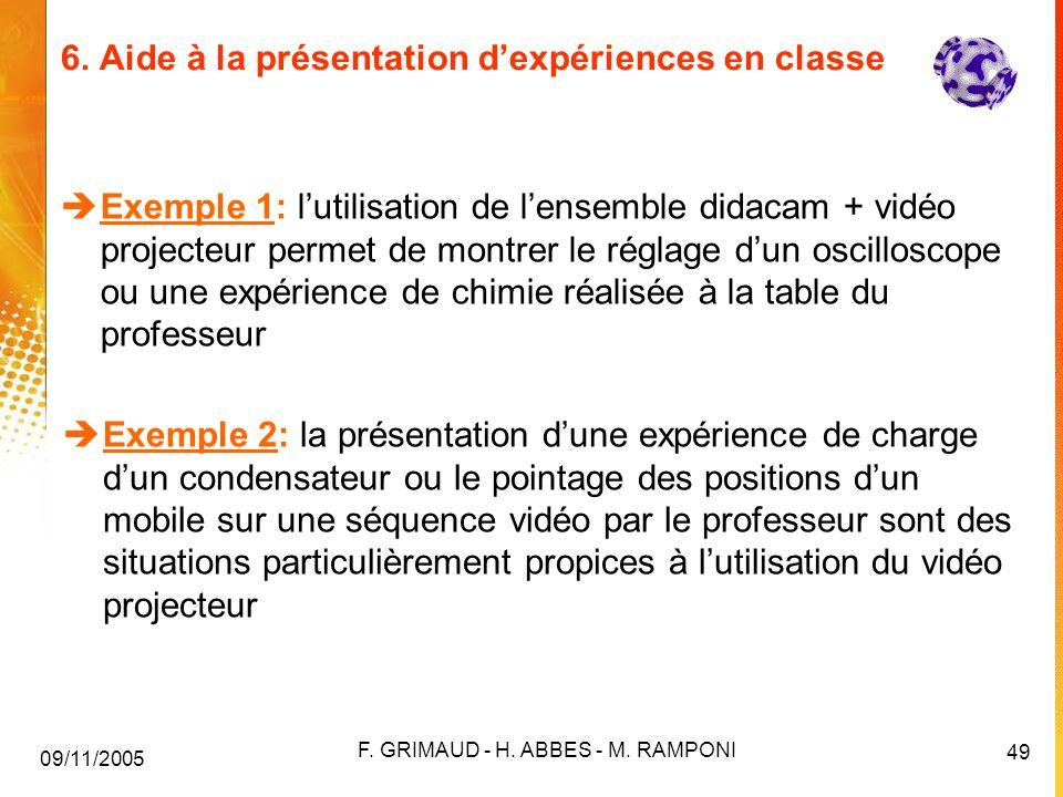 6. Aide à la présentation d'expériences en classe