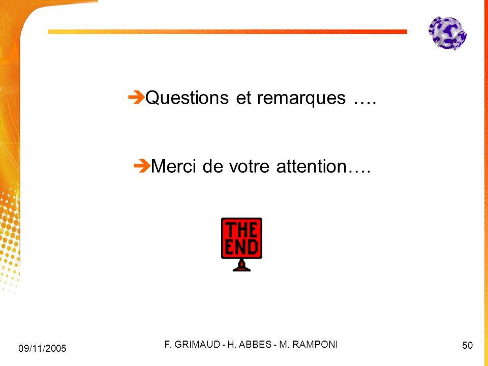 Questions et remarques ….