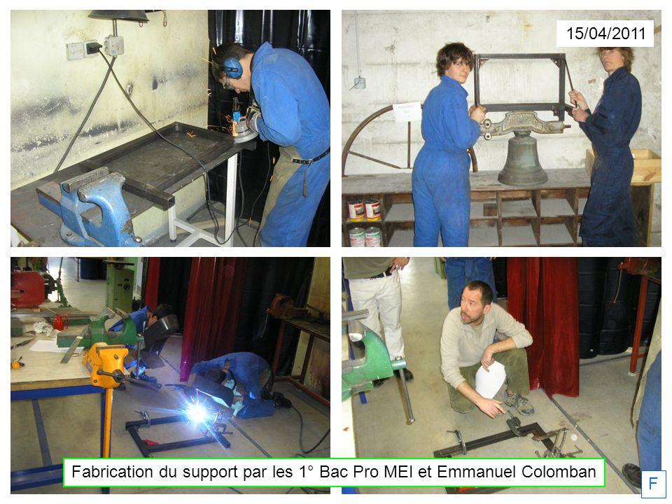 Fabrication du support par les 1° Bac Pro MEI et Emmanuel Colomban