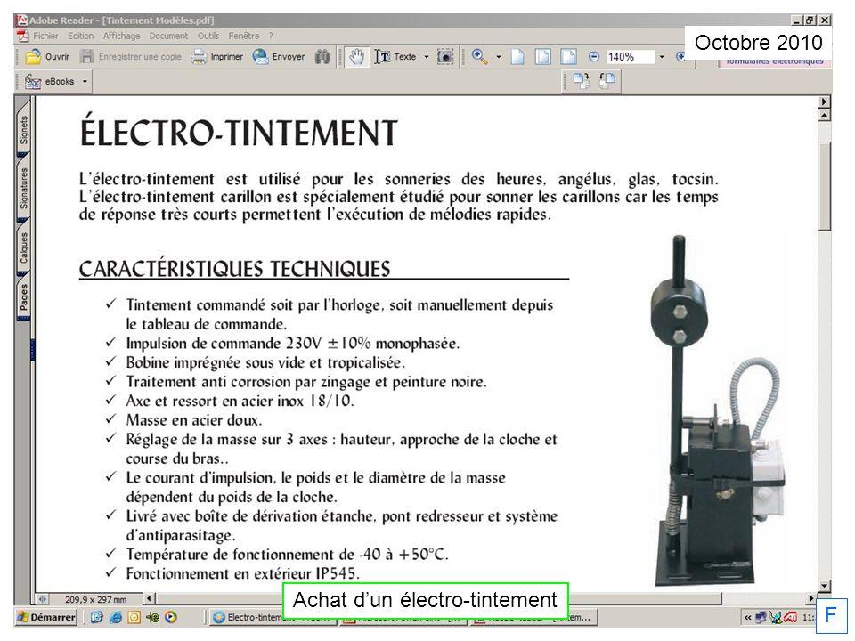 Achat d'un électro-tintement