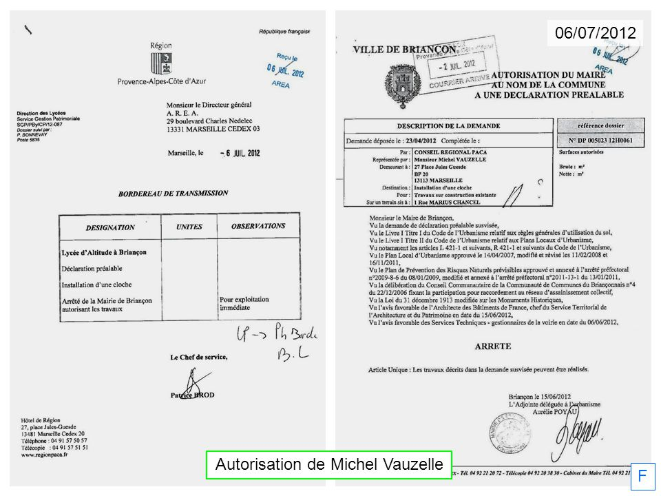 Autorisation de Michel Vauzelle