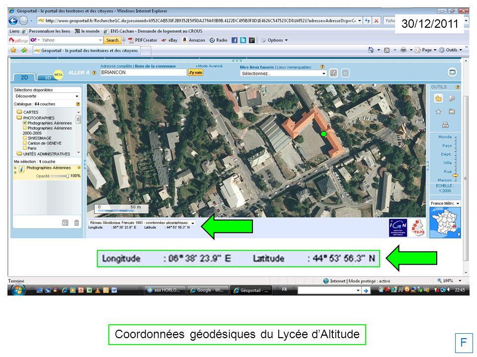 Coordonnées géodésiques du Lycée d'Altitude