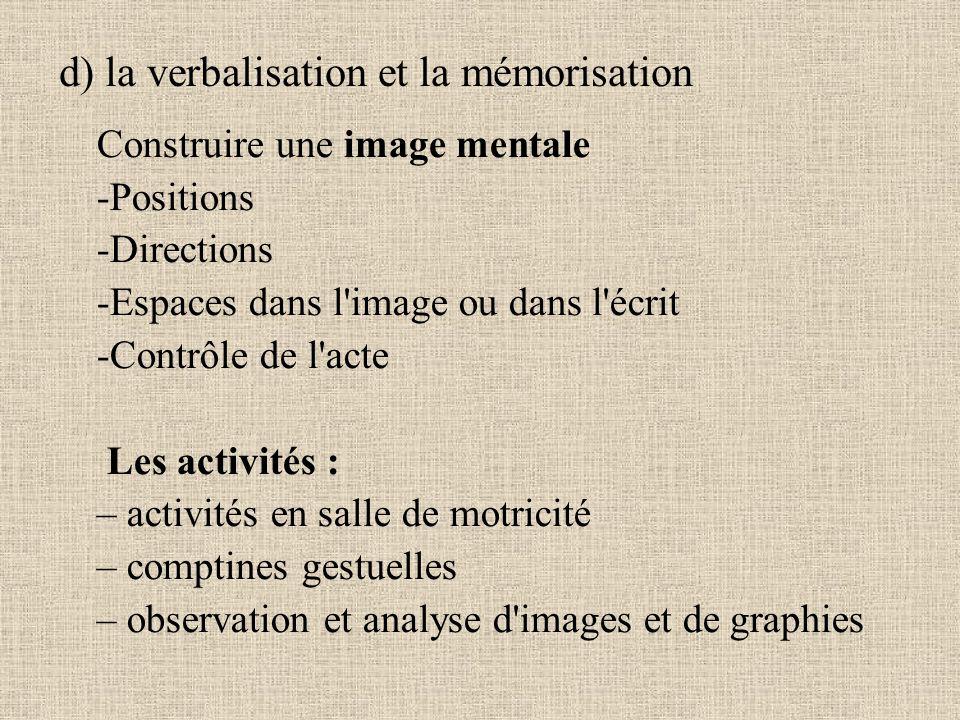 d) la verbalisation et la mémorisation