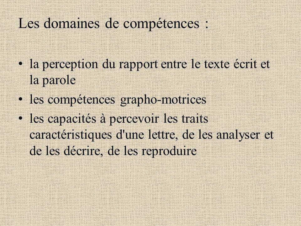 Les domaines de compétences :