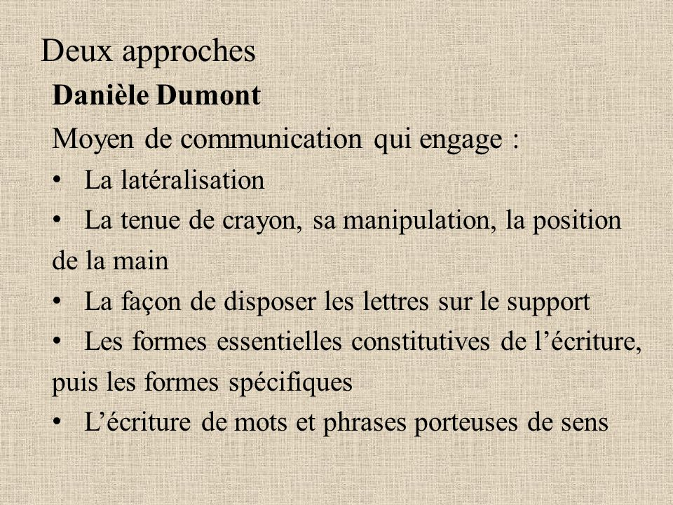 Deux approches Danièle Dumont Moyen de communication qui engage :