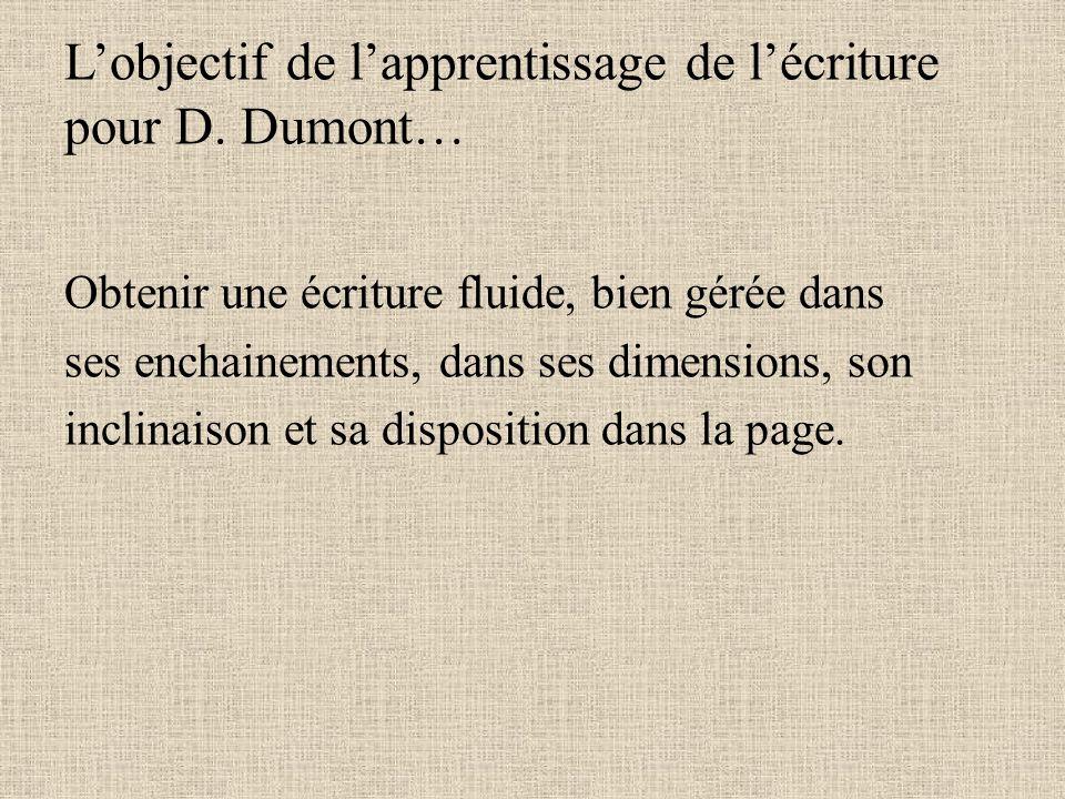 L'objectif de l'apprentissage de l'écriture pour D. Dumont…